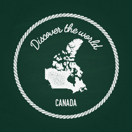 White chalk texture vintage insignia with Canada map on a green blackboard. Grunge rubber seal with country outlines, vector illustration. Illustration