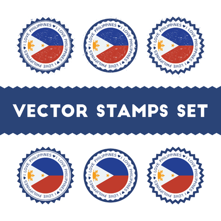 I Love Philippines vector stamps set. Retro patriotic country flag badges. National flags vintage round signs.
