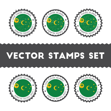 I Love Cocos (Keeling) Islands vector stamps set. Retro patriotic country flag badges. National flags vintage round signs.