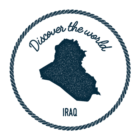 Vintage discover the world rubber stamp with Iraq map. Hipster style nautical postage stamp, with round rope border vector illustration.