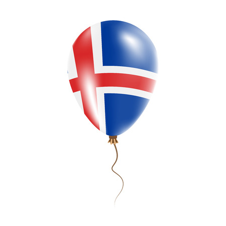 Iceland balloon with flag. Bright Air Ballon in the Country National Colors. Country Flag Rubber Balloon. Vector Illustration.