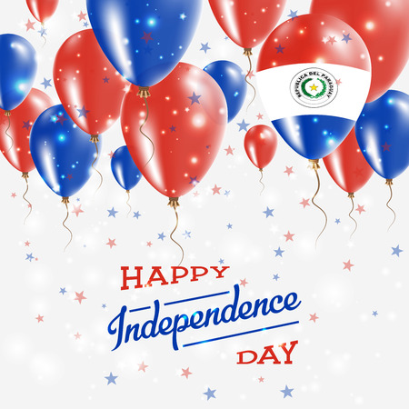 Paraguay Vector Patriotic Poster. Independence Day Placard with Bright Colorful Balloons of Country National Colors. Paraguay Independence Day Celebration. Illustration