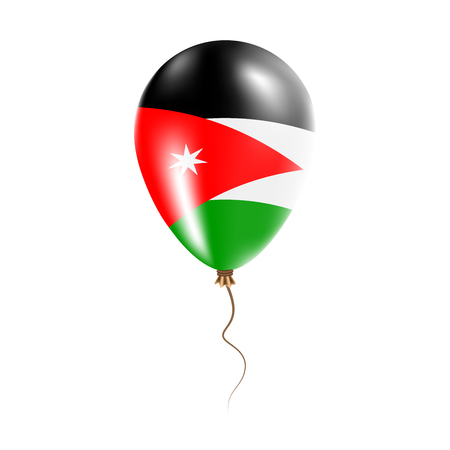 Jordan balloon with flag. Bright Air Balloon in the Country National Colors. Country Flag Rubber Balloon. Vector Illustration.