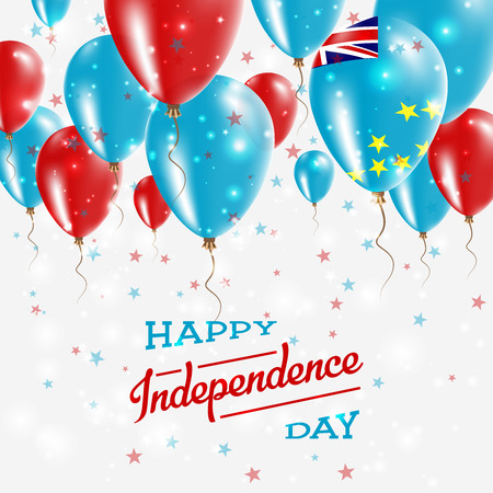 Tuvalu Vector Patriotic Poster. Independence Day Placard with Bright Colorful Balloons of Country National Colors. Tuvalu Independence Day Celebration.