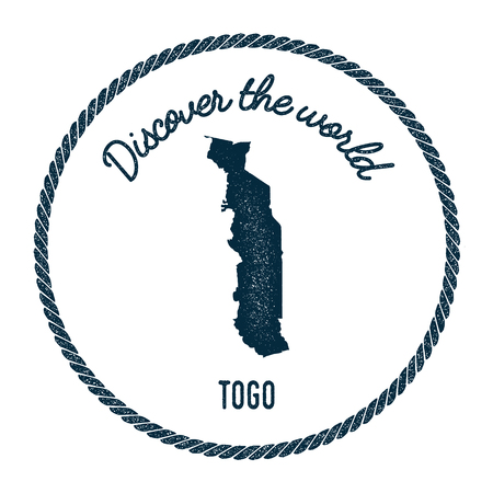 Vintage discover the world rubber stamp with Togo map. Hipster style nautical postage stamp, with round rope border. Vector illustration.