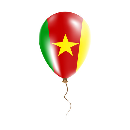 Cameroon balloon with flag. Bright Air Ballon in the Country National Colors. Country Flag Rubber Balloon. Vector Illustration. Illustration
