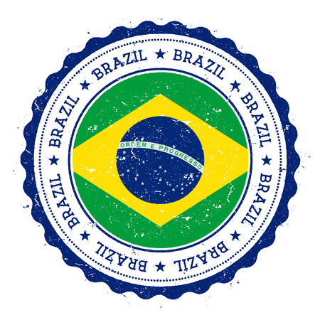 Grunge rubber stamp with Brazil flag. Vintage travel stamp with circular text, stars and national flag inside it. Vector illustration. Vettoriali