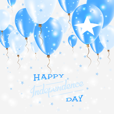 Somalia Vector Patriotic Poster. Independence Day Placard with Bright Colorful Balloons of Country National Colors. Somalia Independence Day Celebration.