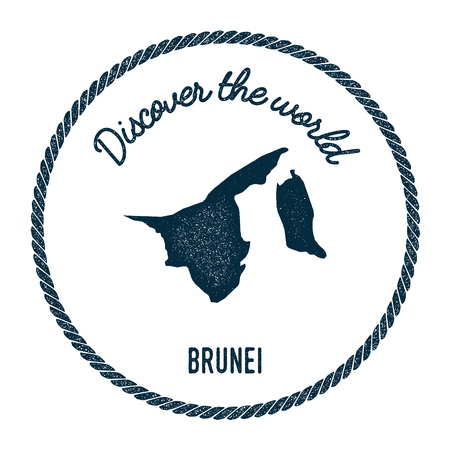 Vintage discover the world rubber stamp with Brunei Darussalam map. Hipster style nautical postage stamp, with round rope border. Vector illustration.
