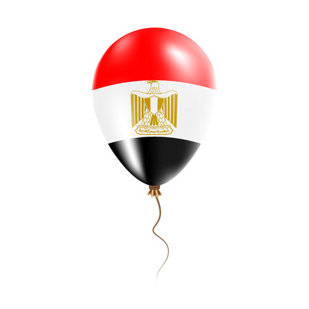 Egypt balloon with flag. Bright Air Balloon in the Country National Colors. Country Flag Rubber Balloon. Vector Illustration.