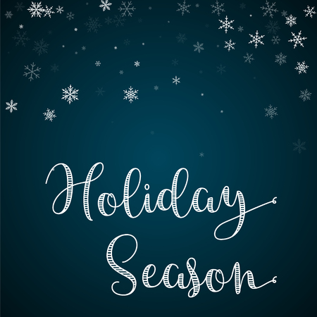 Holiday Season greeting card. Sparse snowfall background. Sparse snowfall on blue background. Magnificent vector illustration.  イラスト・ベクター素材