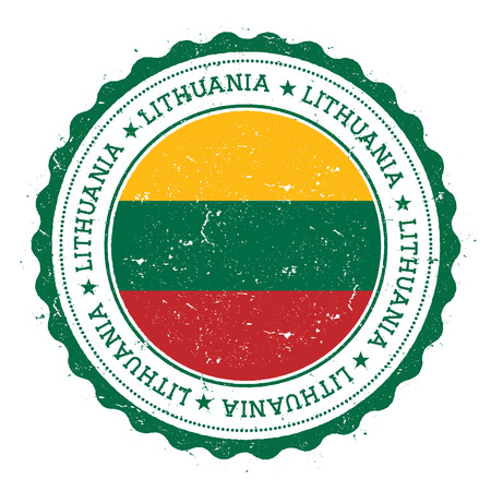 Grunge rubber stamp with Lithuania flag. Vintage travel stamp with circular text, stars and national flag inside it. Vector illustration.