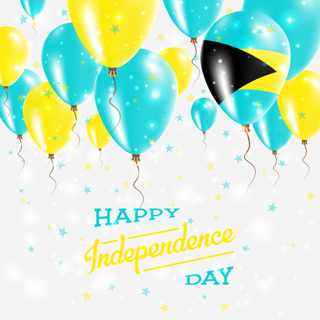 Bahamas Vector Patriotic Poster. Independence Day Placard with Bright Colorful Balloons of Country National Colors. Bahamas Independence Day Celebration. Illustration