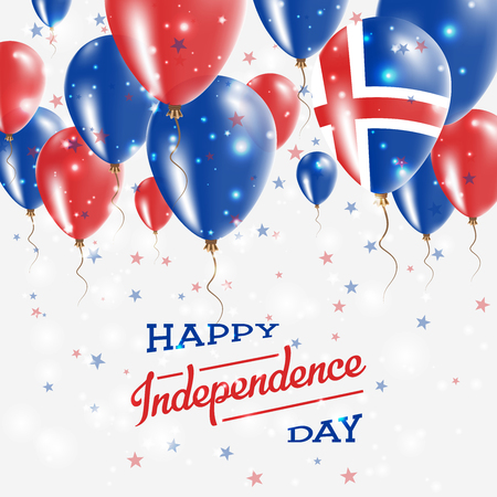 Iceland Vector Patriotic Poster. Independence Day Placard with Bright Colorful Balloons of Country National Colors. Iceland Independence Day Celebration.
