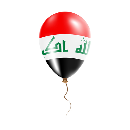 Iraq balloon with flag. Bright Air Balloon in the Country National Colors. Country Flag Rubber Balloon. Vector Illustration.
