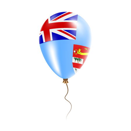 Fiji balloon with flag. Bright Air Balloon in the Country National Colors. Country Flag Rubber Balloon. Vector Illustration.