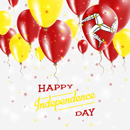 Isle of Man Vector Patriotic Poster. Independence Day Placard with Bright Colorful Balloons of Country National Colors. Isle of Man Independence Day Celebration.