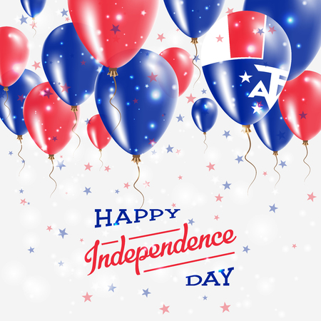 French Southern Territories Vector Patriotic Poster. Independence Day Placard with Bright Colorful Balloons of Country National Colors. French Southern Territories Independence Day Celebration.