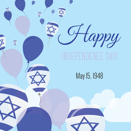 Independence Day Flat Greeting Card. Israel Independence Day. Israeli Flag Balloons Patriotic Poster. Happy National Day Vector Illustration. Ilustração