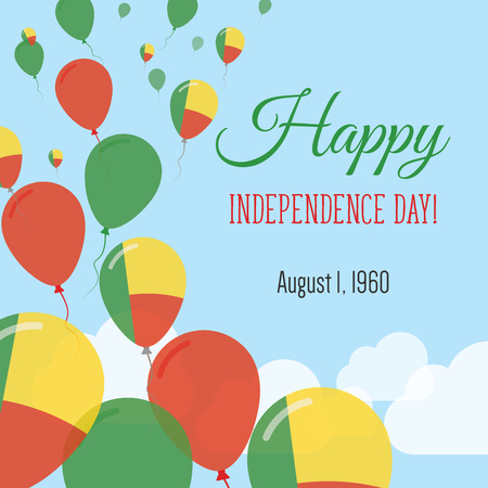 Independence Day Flat Greeting Card. Benin Independence Day. Beninese Flag Balloons Patriotic Poster. Happy National Day Vector Illustration. Illustration