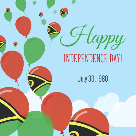 Independence Day Flat Greeting Card. Vanuatu Independence Day. Ni-Vanuatu Flag Balloons Patriotic Poster. Happy National Day Vector Illustration. Illustration