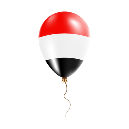 Yemen balloon with flag. Bright Air Ballon in the Country National Colors. Country Flag Rubber Balloon. Vector Illustration.