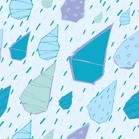 Raindrops Vector Seamless Pattern. Handdrawn Rainy Pattern Background.