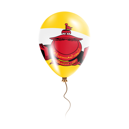 Brunei Darussalam balloon with flag. Bright Air Ballon in the Country National Colors. Country Flag Rubber Balloon. Vector Illustration.