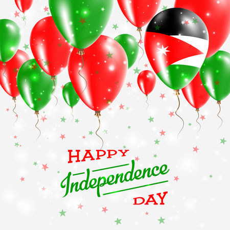 Jordan Vector Patriotic Poster. Independence Day Placard with Bright Colorful Balloons of Country National Colors. Jordan Independence Day Celebration.