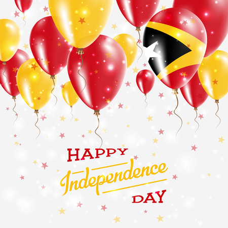Timor-Leste Vector Patriotic Poster. Independence Day Placard with Bright Colorful Balloons of Country National Colors. Timor-Leste Independence Day Celebration.