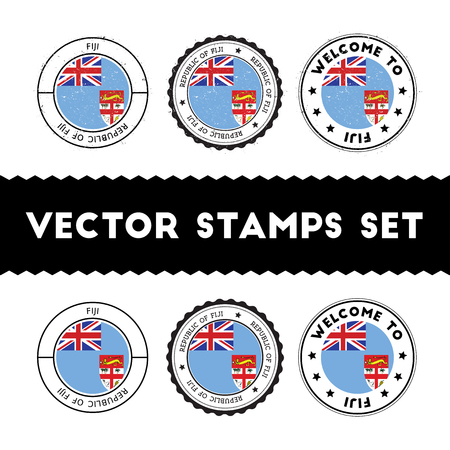Fijian flag rubber stamps set. National flags grunge stamps. Country round badges collection.