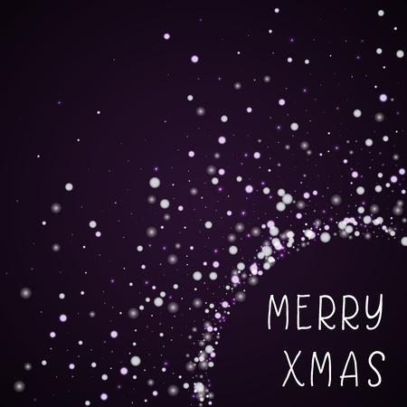 Merry Xmas greeting card. Beautiful falling snow background. Beautiful falling snow on deep purple background. Amazing vector illustration.