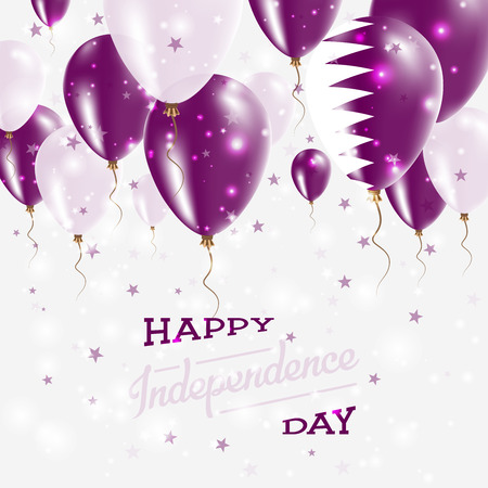 Qatar Vector Patriotic Poster. Independence Day Placard with Bright Colorful Balloons of Country National Colors. Qatar Independence Day Celebration.
