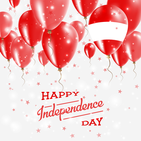 Austria Vector Patriotic Poster. Independence Day Placard with Bright Colorful Balloons of Country National Colors. Austria Independence Day Celebration.