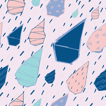 Raindrops Vector Seamless Pattern. Handdrawn Rainy Pattern Background. Naive Melancholic Raindrops Surface Pattern. Childish Sad Pattern for your Textile.