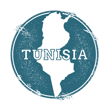 Grunge rubber stamp with name and map of Tunisia, vector illustration. Can be used as insignia, logotype, label, sticker or badge of the country.
