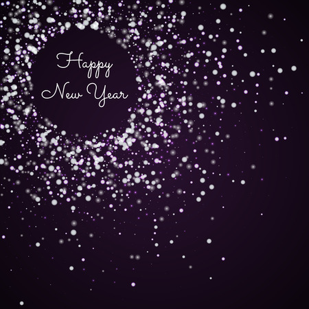 Happy New Year greeting card. Amazing falling snow background. Amazing falling snow on deep purple background. Beautiful vector illustration.