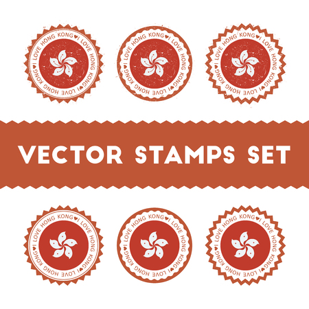 I Love Hong Kong vector stamps set. Retro patriotic country flag badges. National flags vintage round signs.