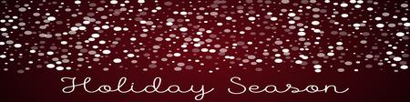 Holiday Season greeting card. Falling white dots background. Falling white dots on red background. Ravishing vector illustration. Illustration