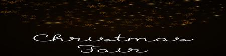 Christmas Fair greeting card. Sparse starry snow background. Sparse starry snow on brown background. Resplendent vector illustration.