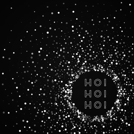Ho-ho-ho greeting card. Random falling white dots background. Random falling white dots on red background. Awesome vector illustration.
