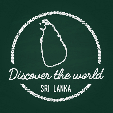 White chalk texture hipster insignia with Democratic Socialist Republic of Sri Lanka map on a green blackboard. Grunge rubber seal with country outlines, vector illustration.