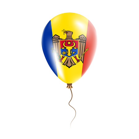 Moldova, Republic of balloon with flag. Bright Air Balloon in the Country National Colors. Country Flag Rubber Balloon.