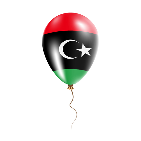 Libya balloon with flag. Bright Air Ballon in the Country National Colors. Country Flag Rubber Balloon. Vector Illustration.