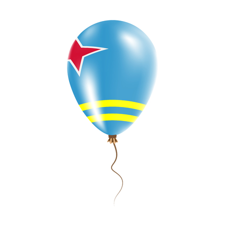Aruba balloon with flag. Bright Air Balloon in the Country National Colors. Country Flag Rubber Balloon.