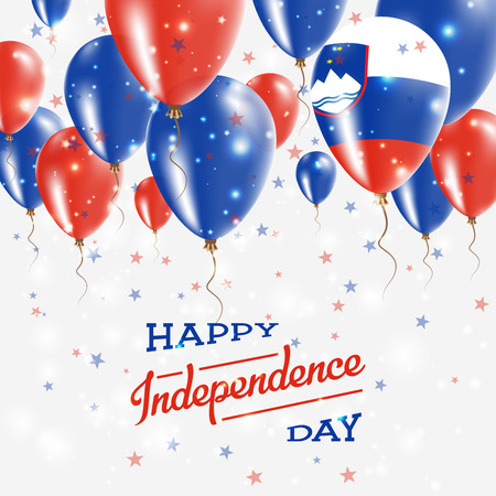 Slovenia Vector Patriotic Poster. Independence Day Placard with Bright Colorful Balloons of Country National Colors. Slovenia Independence Day Celebration. Illustration