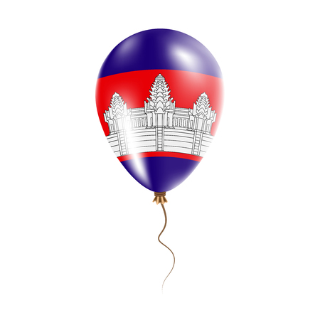 Cambodia balloon with flag. Bright Air Ballon in the Country National Colors. Country Flag Rubber Balloon. Vector Illustration.
