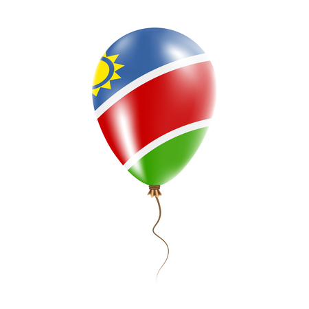 Namibia balloon with flag. Bright Air Ballon in the Country National Colors. Country Flag Rubber Balloon. Vector Illustration. Vettoriali