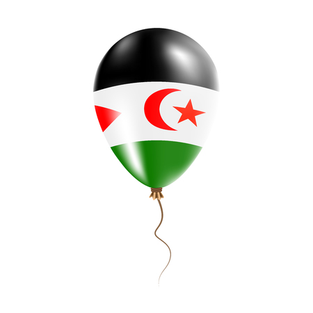 Western Sahara balloon with flag. Bright Air Ballon in the Country National Colors. Country Flag Rubber Balloon. Vector Illustration. Illustration