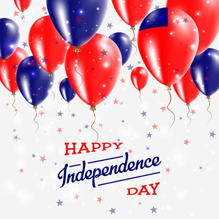 Samoa Vector Patriotic Poster. Independence Day Placard with Bright Colorful Balloons of Country National Colors. Samoa Independence Day Celebration.